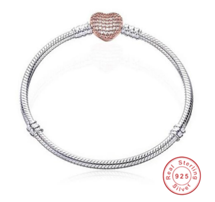 Original 925 Sterling Silver Snake Chain Bracelet Secure Heart Clasp Beads Charms Bracelet For Women DIY Jewelry Making
