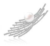 Richapex Elegant Pearl Crystal Brooch Pin for Wedding Bridal,Fashion Crystal with Swarovski Pearl Jewelry Women's Brooch Pin