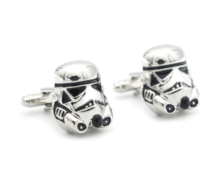 Movie Design Star Wars Stormtrooper Cufflinks For Men Quality Copper Material White Color Cuff Links Wholesale&retail