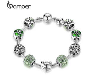 [add to cart win phone] BAMOER Silver Plated Charm Bracelet & Bangle with Love and Flower Beads 4 Colors 18CM 20CM 21CM PA1455