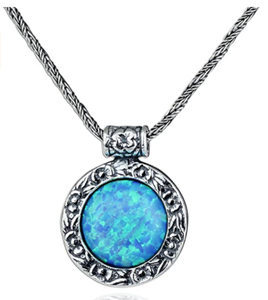 Antique Style 925 Sterling Silver Necklace with Created Blue Fire Opal Floral Design Pendant, 20""