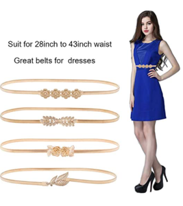 HaoPiDai Brand Gold Belts For Women Dress Skinny Luxury Elastic Waist Metal Chain By Designer