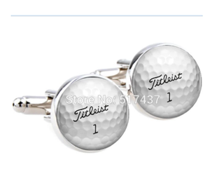 CF-0088 wholesale wedding cufflinks for mens Golf Ball Cufflinks Round Glass Hand made CuffLinks men cuff links