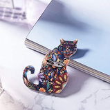 MISSU JEWELLRY Vintage Flowers Print Cats Brooch Pin Animals Acrylic Brooches Colorful Unisex Dress Collar Decorations Badge Jewelry