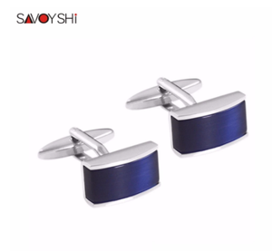 SAVOYSHI Luxury Square Cufflinks for Mens High Quality Shirt Cuff buttons Blue Cat's Eye Stone Cuff links Wedding Gift Jewelry
