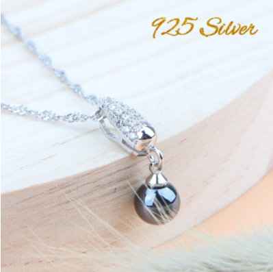 Round Black Pearl Wedding Jewelry Sets Costume Silver 925 Jewelry Women Zircon Ring Pendant Stone Earring Bridal Necklace Set