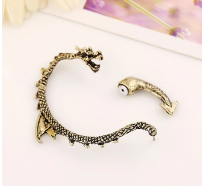 Personality Gothic Punk Rock Vintage Dragon Ear Cuff Earrings For Women Men Earcuff Orecchini