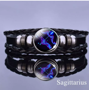12 Zodiac Signs Constellation Charm Bracelet Men Women Fashion Multilayer Weave leather Bracelet & Bangle Birthday Gifts