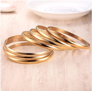 Castillna 14K Gold Plated Gold Bangle Bracelets for Women Christmas Birthday Gifts, Set of 7 Pieces