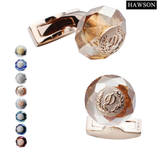 HAWSON Classic Round Stone Cuff Links Navy Groom Cuff Buttons Luxury Cufflinks for Men