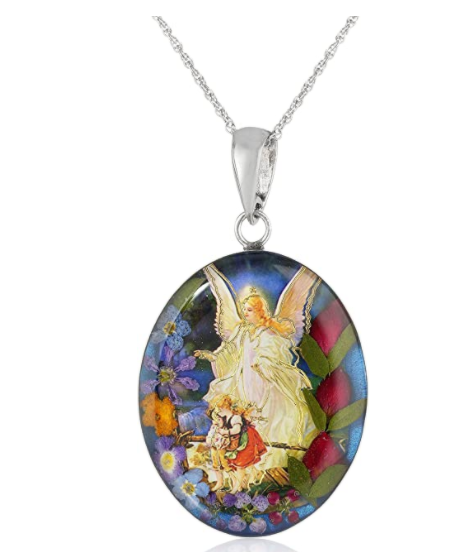 Sterling Silver Pressed Flower Guardian Angel or Our Lady of Guadalupe Pendant