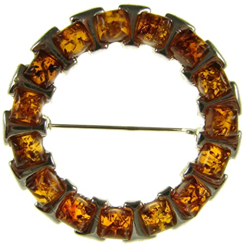 BALTIC AMBER AND STERLING SILVER 925 DESIGNER COGNAC BROOCH PIN JEWELLERY JEWELRY