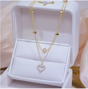 14k Real Gold Double layer Heart Necklace Shining Bling AAA Zircon Women Clavicle Chain Elegant Charm Wedding Pendant Jewelry
