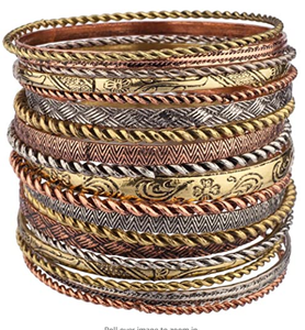 Lux Accessories Flower Mixed Metal Aztec Multi Bangle Set