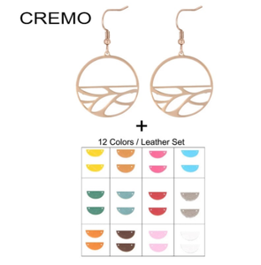 Cremo Leaf Dangle Earrings for Women Inoxydable Leather Stainless Steel Jewelry Reversible Earing Charm Jewelry 2020