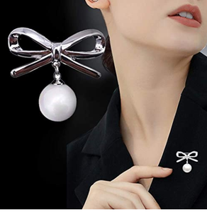 Walbest Brooch Pins for Women, Prevent Accidental Exposure, 2Pcs Lady Fashion Bowknot Big Faux Pearl Alloy Brooch Safety Pin Jewelry Gift (Golden)