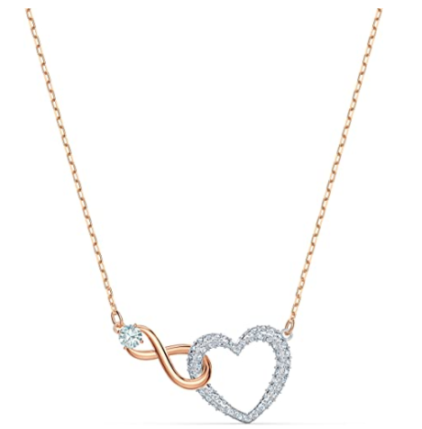 Swarovski Women's Infinity Heart Bangle Bracelet & Necklace Rose-Gold Tone Finish Crystal Jewelry Collection