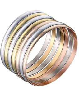 Castillna Stainless Steel Glossy Tri-Color Silver / Gold / Rose Gold Bangle Bracelet Set for Women, Set of 7 Pieces