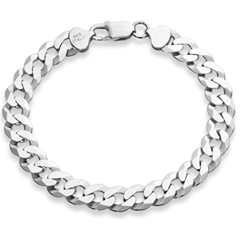 Miabella 925 Sterling Silver Italian Solid 9mm Diamond-Cut Cuban Link Curb Chain Bracelet for Men 7, 7.5, 8, 8.5, 9 Inch, Made in Italy