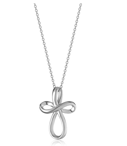 Amazon Collection Sterling Silver Open Loop Cross Pendant Necklace 18