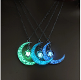 2020 Silver Plated Women Halloween Pendant Moon Glowing Necklace Gem Charm Jewelry Hollow Luminous Stone Pendant Necklace Gifts