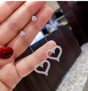 Anti-allergic Korean Temperament Elegant Paved Crystal Heart Dangle Earrings For Women Girls Party Gift Brincos Wholesale LS461