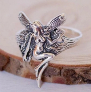 Vintage Silver Plated Angel Wings Ring for Womens Gothic Steampunk Party Anniversary Ring Adult Women's Jewelry