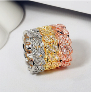 Luxury Female White Crystal Stone Ring 18KT Yellow Gold Color Wedding Rings For Women Promise Bridal Love Cross Engagement Ring
