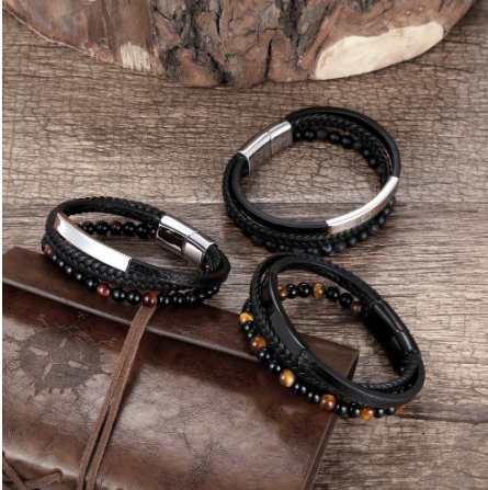 New 6MM Natural Stone Men Bracelet Multi-layer Handmade Weaved Leather Rope Chain Stainless Steel Bangle Male Jewelry Gifts