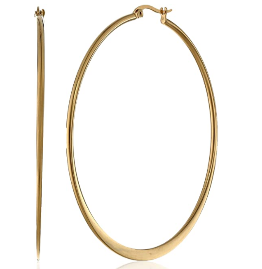 Amazon Essentials Gold or Rhodium Plated Stainless Steel Flattened Hoop Earrings