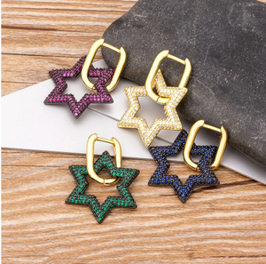 2020 New Arrival Copper CZ Star Drop Earrings For Women Crystal Statement Dangle Earrings Fine Party Wedding Christmas Jewelry