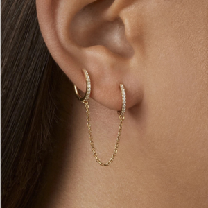 New Fashion Circle Ear Cuff Retractable Earrings for Women Men Gold Huggie Unisex Double Piercing Hoop Earing Female Brincos