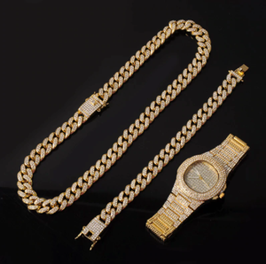 Gold Necklace +Watch+Bracelet Hip Hop Miami Curb Cuban Chain Gold Full Iced Out Paved Rhinestones CZ Bling For Men Jewelry