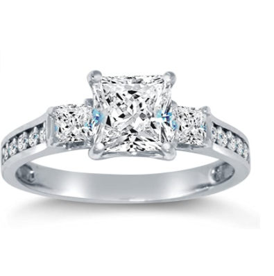 Solid 925 Sterling Silver CZ Cubic Zirconia 3 Three Stone Engagement Ring - Princess Cut Solitaire with Round Side Stones (1.75cttw., 1.5ct. Center) - Available in all ring sizes 4 - 10 & Comes With Elegant Velvet Ring Box