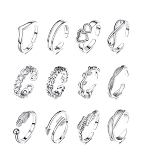 12PCS Adjustable Toe Rings Flower Arrow Band Open Tail Ring for Women Beach Foot Jewelry Set
