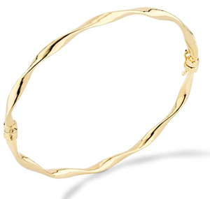 Miabella 18K Gold Over Sterling Silver Italian Oval Twist Hinged Bangle Bracelet for Women Teen Girls 6.75 to 8 Inch 925 Made in Italy