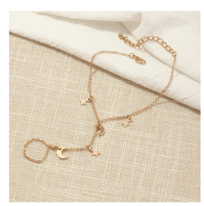 Simple Cute Star Moon Pendant Chain Bracelet Trendy Exquisite Connected Finger Bracelets Hand Accessories for Women Gifts