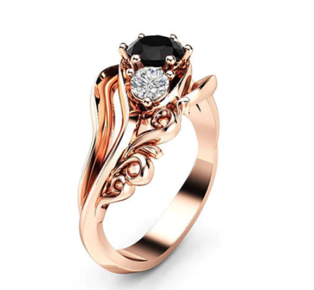 Huitan Witch Ring Unique Black Stone Prong Setting Twist Band Design Rose Gold Color Women Engagement Finger Rings Wholesale