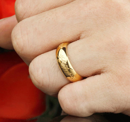 High Quality Gold Color Rings Good Gift Stainless Steel One Ring Of Power Jewelry for Women Men Free Shipping (GR147)
