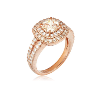 Amazon Collection 14k Rose Gold Plated Sterling Silver Champagne Cubic Zirconia Cushion Cut 6mm Double Halo Ring