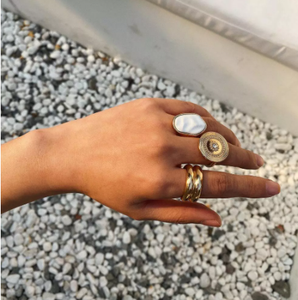 AOMU 2020 New 3 Pieces/Set Gold Color Metal Ring Fashion Ethnic Retro Geometric Round Big Rings For Women Party Jewelry
