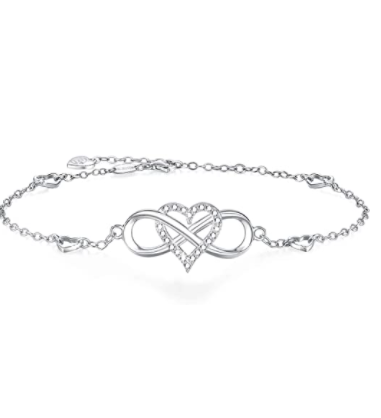 BlingGem Womens Ankle Bracelet 925 Sterling Silver Anklet Cubic Zirconia Infinity Heart Summer Beach Stylish Chain Adjustable Gift for Women