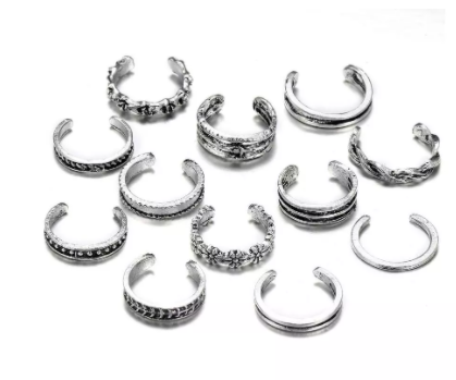 New 12pcs/set Retro Bohemia Foot Rings Female Carved Flower Silver Color Toe Rings for women Boho Beach Jewelry Drop Shipping