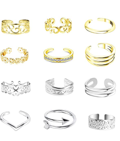 ONESING 12 Pcs Toe Rings for Women Open Tail Ring Daisy Adjustable Toe Ring Foot Jewelry