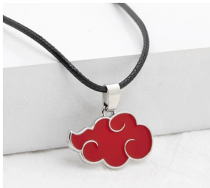 1 Pcs Japanese Anime Cosplay Naruto Akatsuki Organization Red Cloud Sign Metal Unisex Pendant Trendy Women Men Necklace
