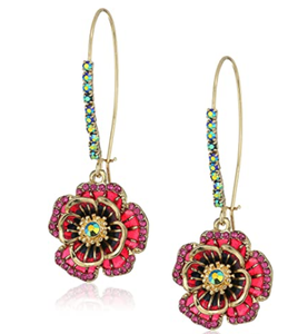 Betsey Johnson Multi Flower Shepherd's Hook Earrings