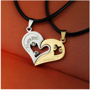 1 pair Fashion Couple Heart Shape I Love You Pendant Necklace Unisex Lovers Couples Jewelry Fashion Gift Accessories