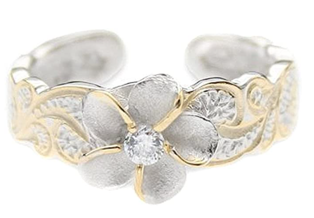 Hawaiian Sterling Silver with Yellow Gold Flashed Plumeria Toe Ring with Synthetic CZ Accent