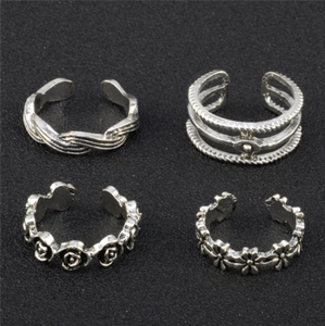 12Pcs New Rings Lady Unique Adjustable Opening Finger Ring Retro Carved Toe Ring Foot Beach Foot Ring Jewelry