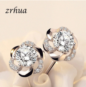 ZRHUA Real 925 Sterling Silver Flower Earrings For Women Christmas Gift Hot Wedding Statement Jewelry Pendientes Brincos